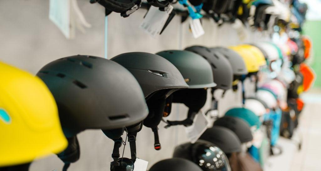 snow helmets in snow sport shop