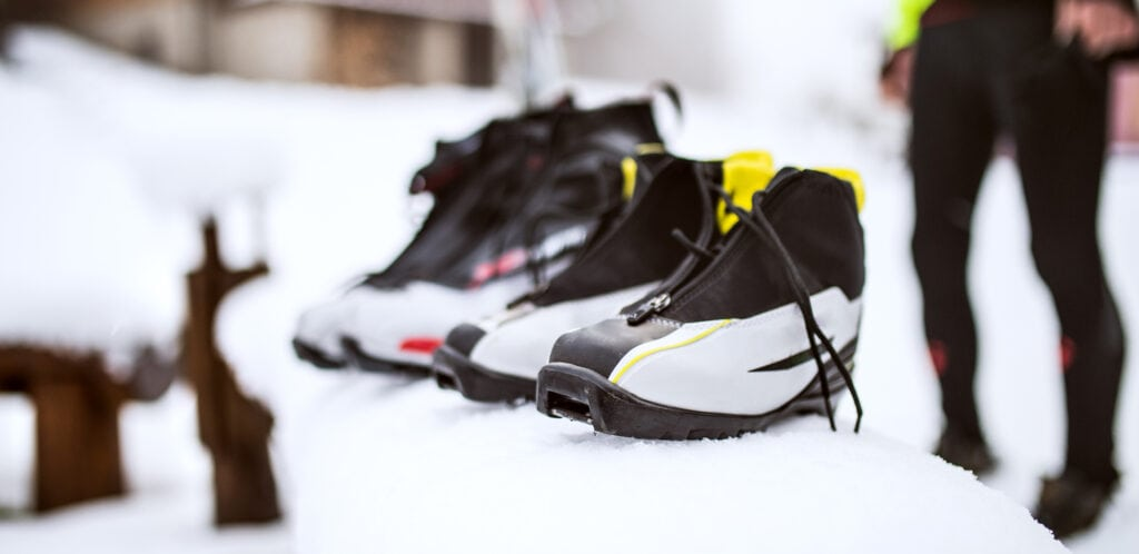 Cross country ski boots lined up