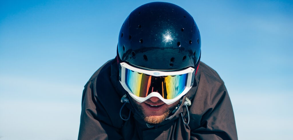 Man wearing a ski helmet