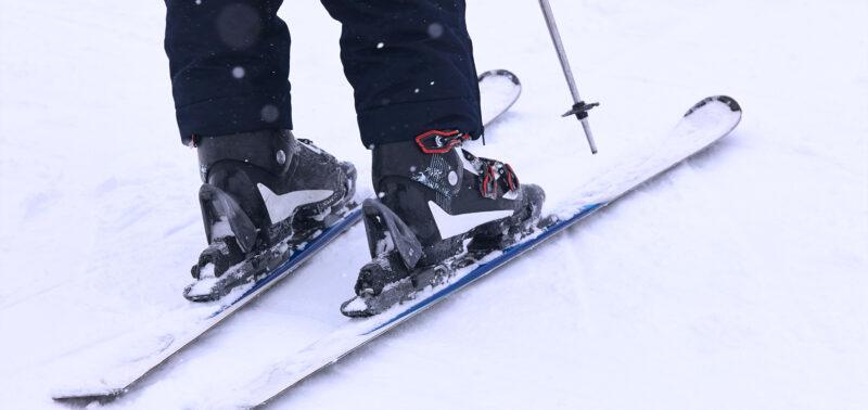 closeup of ski boots and bindings