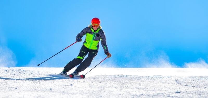intermediate skill level woman on ski