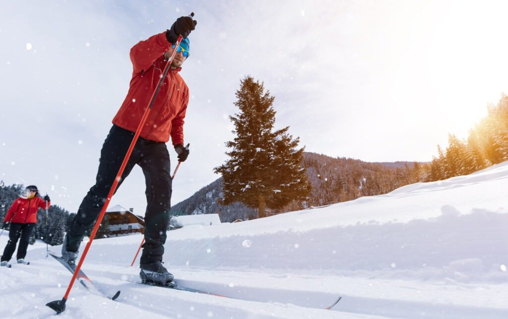 Man going cross-country skiing