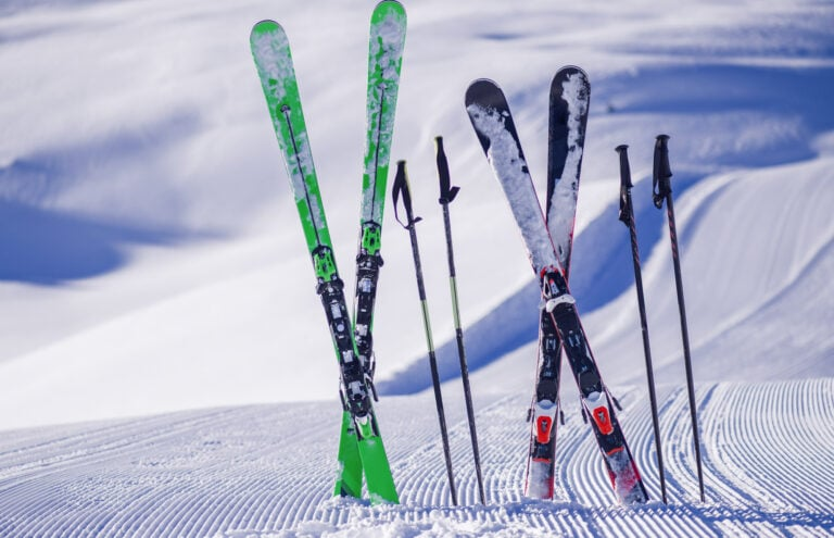 ski equipment in the snow