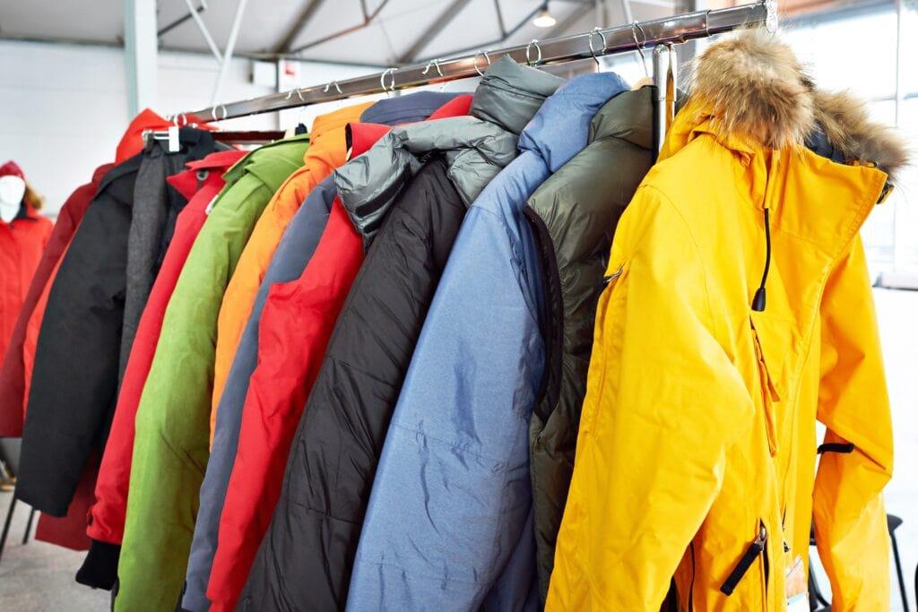 Winter ski sports jacket on hanger in store