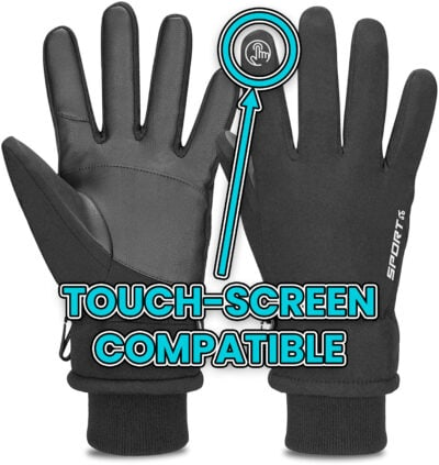 touch screen compatible ski snowboard gloves