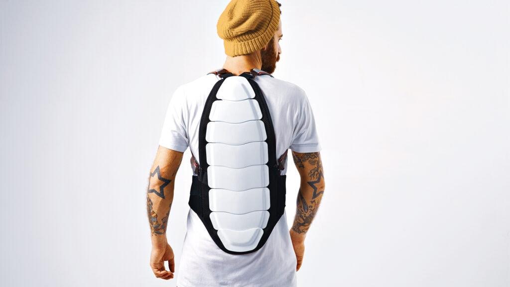man wearing ski back protector